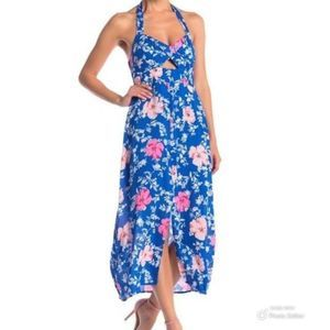 WAYF Ucca Cut Out Blue Floral Halter Dress